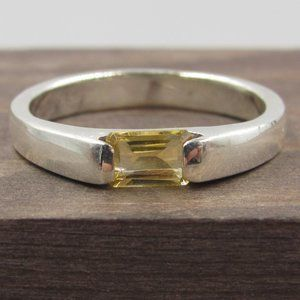 Size 7.75 Sterling Silver Yellow Citrine Gem Band